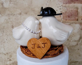 Love Bird Cake Topper with Custom Fire Helmet and Pearls