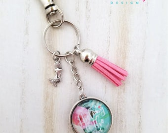 Mermaid Keychain-Coastal Keychain-I Belong to the Sea Keychain-Mermaid Gift-Tassel Keychain-Double side Keychain-Tassel-Coastal Collection