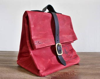 Our Waxed Canvas and Leather Handled Lunch Bag WOW! NEW COLORS!!