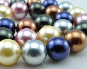33 pcs of mixed color Shell Pearl smooth round beads in 12mm,SP1215