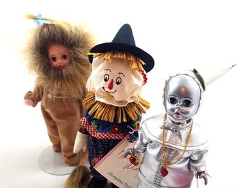 Vintage MADAME ALEXANDER Lion Tin Man Scarecrow Retired Wizard Of Oz Dolls Cowardly Lion 431 Scarecrow 430 In Box Storybook No Dorothy Toto