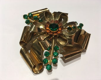 Vintage Green Rhinestone Brooch, 1940's Emerald Green Antique pin, Large Antique Green Flower Brooch, Deco Green Brooch