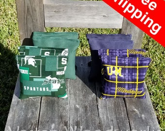 """FREE SHIPPING! Michigan Spartans / Michigan Wolverines set of 8 corn hole bags, top notch quality: 6"""" regulation size! - Gamma"""