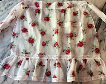 Vintage White Organza & Lace Red Rose Hostess Half Apron
