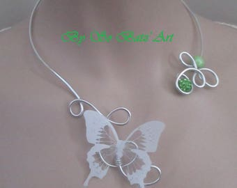 "Necklace + earrings ""Mariposa"" lime and white"