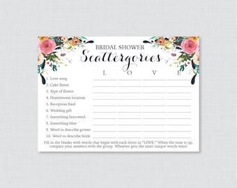 Floral Bridal Shower Scattergories Game - Printable Colorful Flower Scattergories Game - Shabby Chic Garden Bridal Shower Game 0002-B