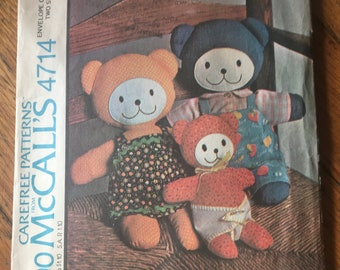 McCall's #4714 Bear Family and Clothes Pattern-New Uncut