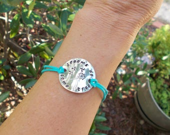 Hand Stamped Charm Bracelet Inspirational Message Dreams Do Come True with Dandelion Teal and Silver