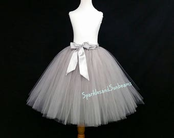 SILVER ADULT TUTU** Halloween Orders Available **/ Tutu with full lining/ Silver Gray bridal tutu/ Any color adult tulle skirt
