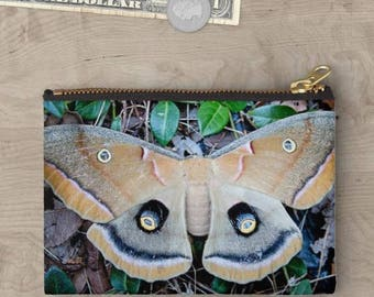 Moth bag, moth print, nature photography, Polyphemus moth, cosmetic bag, travel bag, zipper pouch, nature lover gift, gift for her, pouch