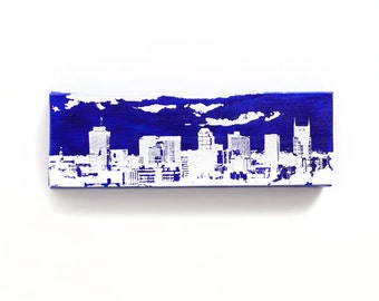 Nashville Skyline Canvas (12 x 4 inches, Blue with White) Cityscape Screen Print & Painting Home Decor
