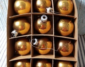 Lot of Vintage Small Gold Mercury Glass Ball Christmas Tree Ornaments by Franke, Wreath Crafting Supply, Retro Holiday