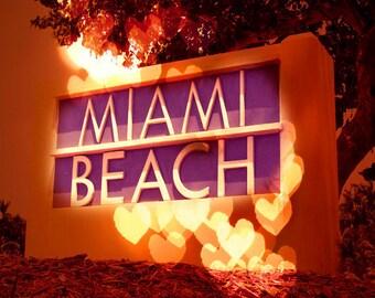 SALE Miami Beach Florida Sign Art Print - Heart Bokeh Orange Purple Love Wall Art Photo
