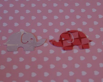 25 Large MOD ELEPHANT paper punch,  2 inch wide x 1.5  CORAL shades double sided gray on back side confetti, scrap booking. Baby shower.