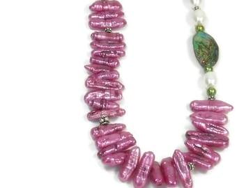 Sale| Biwa Pearl Necklace, Tribal Stick Pearl Necklace, Abalone Shell, Tropical, Freshwater Pearl Jewelry, Asymmetrical, Fuchsia Pink Biwa P
