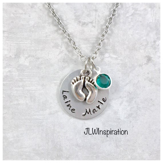 Personalized 18th Birthday Necklace Initial Custom: Baby Feet Necklace Personalized Name And Birthstone Birthday