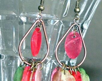 Shell Earrings, Dangle Earrings, Drop Earrings, Copper Earrings, Cluster Earrings, Holiday Jewelry, Christmas Gift