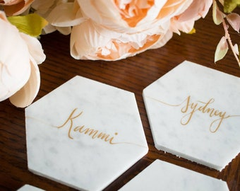 100 Customized Calligraphy Hexagon Marble Coasters. Wedding Place Cards. Escort card. Personalized Hexagon Coasters.Wedding Favors.