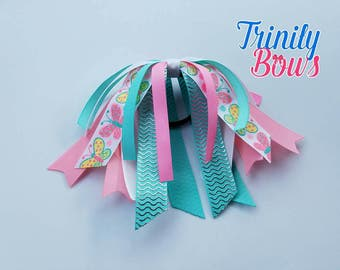 Spring Butterflies - Ponytail Streamer -  Butterfly - Pink - Turquoise