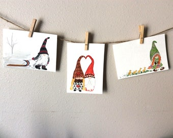 5 x 7 Gnome Prints, Your Choice of 3