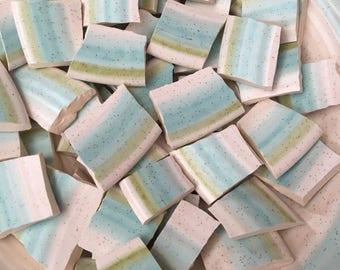 100 Green Blue Stripe Mosaic Tiles Mix Broken Plate Art Hand Cut Mix Assortment Vintage