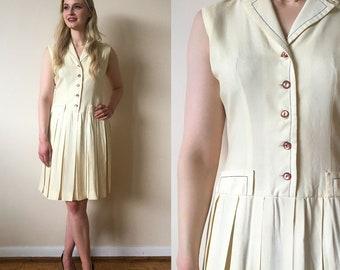 Jonathan Logan Petites late 50s/early 60s Cream Coloured Nautical Drop Waist Dress