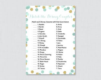 Mint Disney Couples Match Game - Printable Mint and Gold Glitter Bridal Shower Famous Couples Match Game - Mint Wedding Shower Game 0001-M