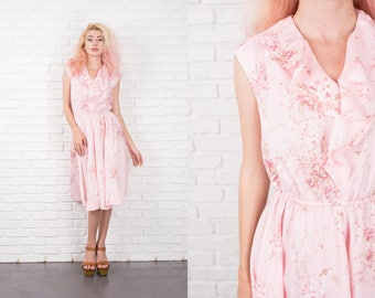 Vintage 70s Pink Boho Dress Floral Print Ruffle Small S Sleeveless 10454