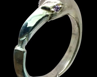 14k Amethyst Flamingo Ring, FREE SIZING
