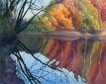 Autumn art watercolor painting landscape print by Cathy Hillegas, 16x21 watercolor print, Blue River art, watercolor landscape, autumn color