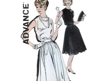 60s uncut Cocktail Dress pattern Fit and Flare Dress pattern vintage 34-26-36 Loretta Young madmen Sleeveless Dress pattern advance 9868
