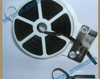 65FT Plastic Twist Tie Spool with Cutter - Black Flat