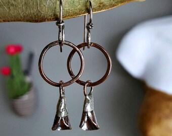 SALE - Organic Petal Earrings, Aged Copper, Sterling Silver, Rustic Jewelry, Women's Earrings, Artisan Jewellery, Gift for Her, Wearable Art
