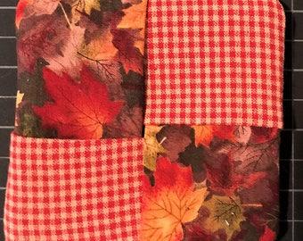 Fall Leaves and Gingham Mug Rug