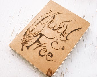 Wild and Free - sketchbook, scrapbook, journal - Pyrography - Feather design and Thoreau quote - Natural fibers