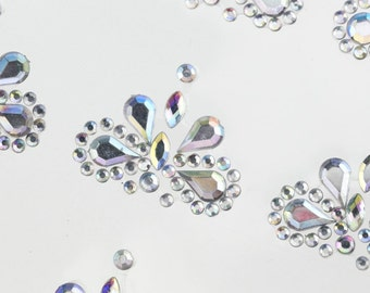 CraftbuddyUS 12 Diamante Dragonfly 25mm Ab Clear Stick on Gems Self Adhesive Rhinestone