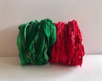 Sari Silk Ribbon-Red & Green Recycled Sari Ribbon-10 Yards