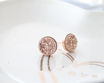 Druzy Earrings Studs Druzy Earrings ROSE GOLD Stud Earrings Druzy stud earrings Rose gold druzy earrings Rose Gold 8mm
