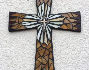 Religious Wall Art, Unique Wall Cross, Mosaic Wall Cross, Religious Wall Cross, Stained Glass Mosaic Cross, Traditional Wall Cross