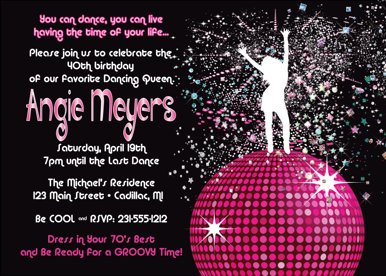Women\'s Birthday Party Invitation Disco Dancing Queen 70