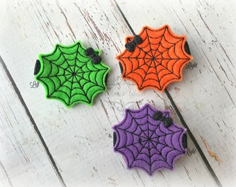 Halloween hair clip Spider Web Hair Clip Trick or Treat Hair clippie cutie  Pick one or two. Pick Left side or Right.