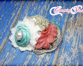 Coral, Aqua Headband, Burlap Flower Hair Piece, Turquoise Hair Accessory, Mint Fabric Flower Headband, Flower Hair Clip, Baby Girl Hair Bows