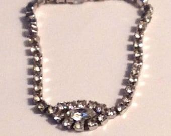 Bracelet Vintage Clear Rhinestone Silver Setting