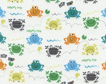 Timeless Treasures Fun Collection Frogs on White by the Yard ~ 1/2 Yard ~ Fat Quarters