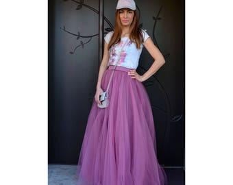 Lux Tulle Maxi Skirt/ Long Tulle Skirt in Matt Tulle/Bridesmaids Skirt/ Prom Skirt