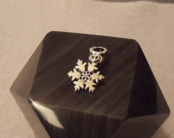 Silver and Blue Crystal March Birthstone Snowflake Pugster European Charm