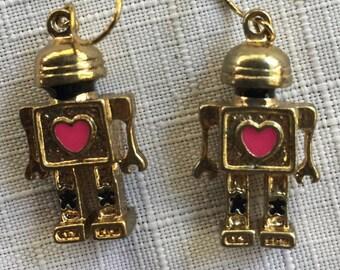 Robot Earring,Robot Love Earring,Valentine Earring,Robot Dangle Earring,Nerd Earring,Sci Fi Earring,Robot Gift,Robot Jewelry,Robot Present