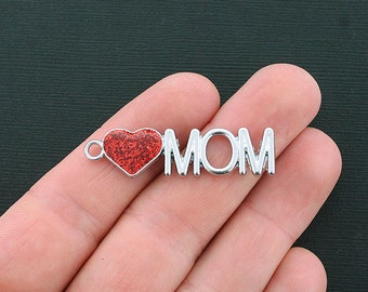 BULK 10 Mom Charms Antique Silver Tone 2 Sided with Sparkly Red Heart- SC2177