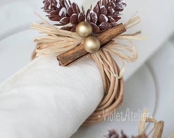 4 Christmas Napkin Rings, 4 Artificial Pinecones Cinnamon Wooden Rings, Christmas Table Decoration, Golden Winter Decor, Rustic Napkin Rings