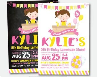 Lemonade Invitation, Pink Lemonade Party, Lemonade Stand Invitation, Lemonade Birthday, Personalized Printable Digital Invitation, 2 options